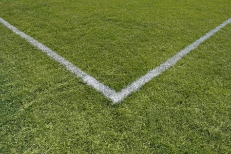 Photo for Painted lines in the corner of a green grass playing field. - Royalty Free Image