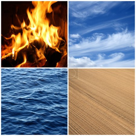 Photo for Four elements of nature. Fire, water, air and earth. - Royalty Free Image