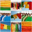 Variety of multicolored casual clothing and colorf...