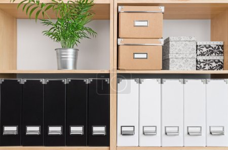 Photo for Shelves with storage boxes, black and white folders, and green plant. - Royalty Free Image