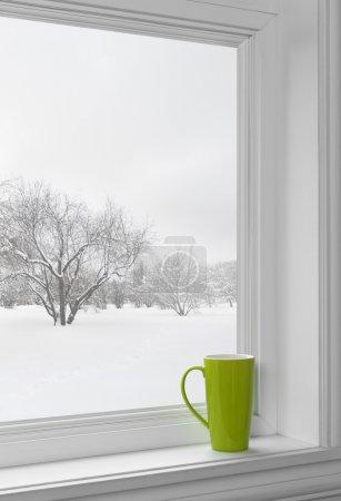 Photo pour Coupe verte sur un rebord de fenêtre, avec paysage hivernal vu par la fenêtre . - image libre de droit