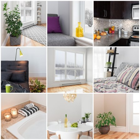 Photo for Modern home. Living room, dining room, bedroom, kitchen, bathroom. Collection of 9 images. - Royalty Free Image