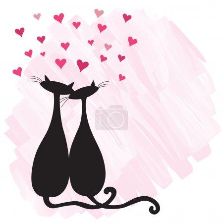 Photo pour Deux chats amoureux sur fond aquarelle. - image libre de droit