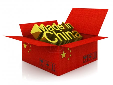 Photo for Cargoboard box with Chinese flag and words - Royalty Free Image