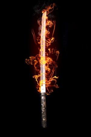 Japanese sword in flames