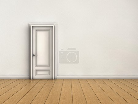 Photo for White room with closed door - Royalty Free Image