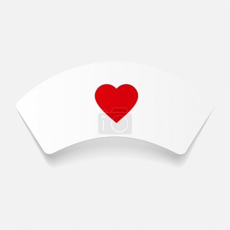 Illustration for Nurse cap icon. Paper sticker isolated - Royalty Free Image