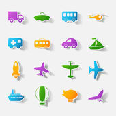 Paper clipped sticker: transport Set