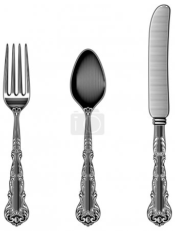 Illustration pour Cuillère, fourchette et couteau de style vintage de l'époque victorienne. Fonctionne bien comme autocollants muraux . - image libre de droit