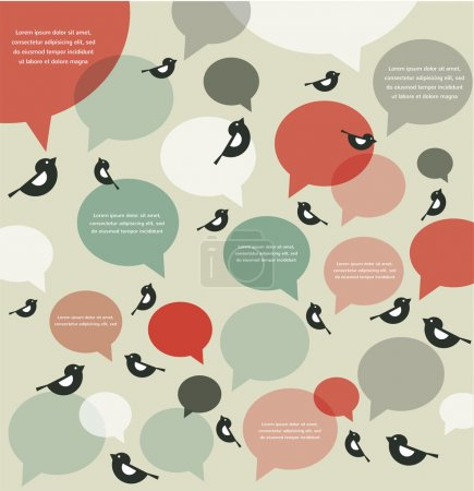 Illustration for Retro backgroung of bird communication with speech bubbles, infographics - Royalty Free Image