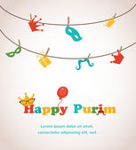 Jewish holiday Purim greeting card design vector illustration