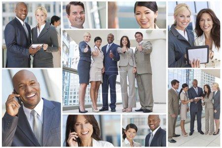Photo pour Montage de groupe interracial d'équipes d'entreprises, hommes et femmes, hommes et femmes d'affaires et femmes d'affaires - image libre de droit