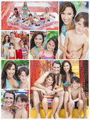 Mother, Father & Children Family Playing at Waterpark