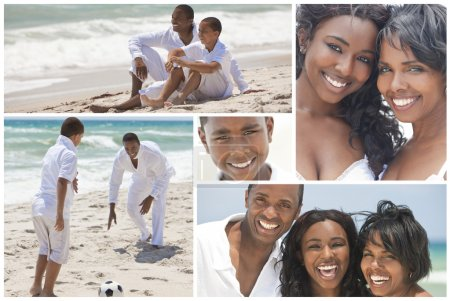 African American Family Montage Outside Beach Summer