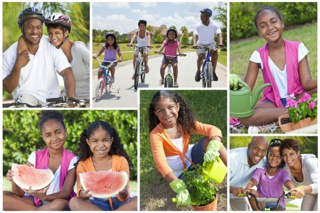 Montage of Young Healthy African American Family Lifestyle