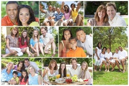 Photo pour Les mères de familles multiculturelles attrayant, pères, fils, filles, grands-parents à l'extérieur de s'amuser sous le soleil de l'été, manger, assis, souriant, onduler, rire, heureux - image libre de droit