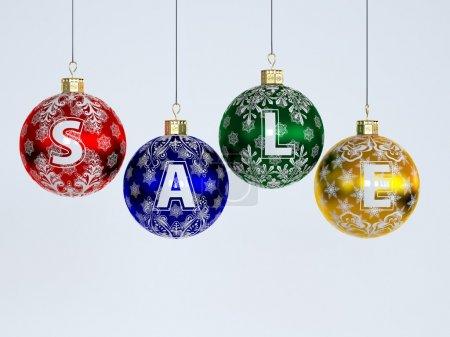 """Photo pour Vente de Noël. Boules de sapin de Noël avec texte """"vente"""" sur fond blanc - image libre de droit"""