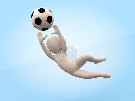 Football. 3D-man strikes ball. Goalkeeper
