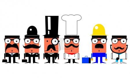Photo pour Emploi et professions jeu de personnages de bande dessinée - image libre de droit