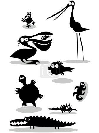 Illustration for Set of black animal silhouettes - Royalty Free Image