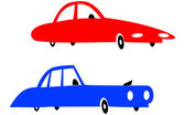 Red and blue cars