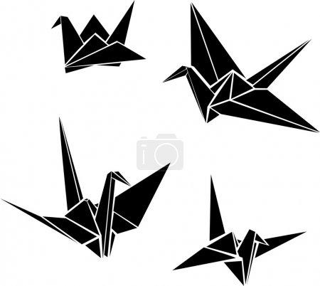 Set of vector origami paper cranes...