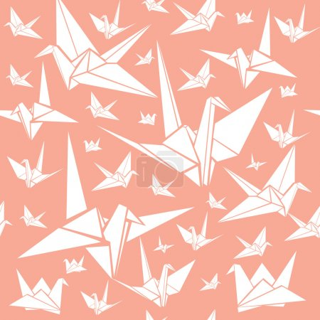 Illustration for Set of vector origami paper cranes - Royalty Free Image