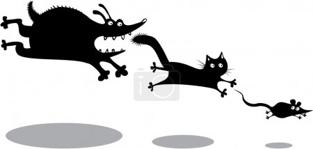 Funny running dog, cat and mouse