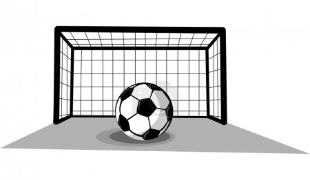 Soccer ball and gate isolated on the white