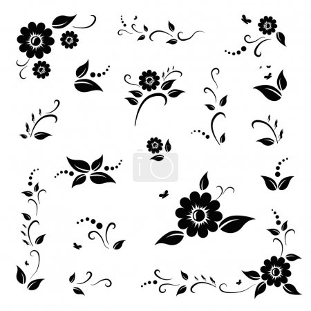 Illustration for Vector set of black flowers and leaves. EPS 10 - Royalty Free Image