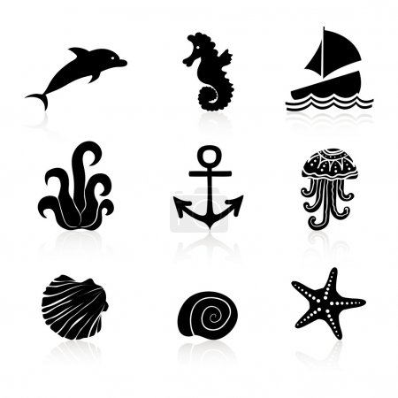 Illustration for Set of 9 icons Marine life. Vector illustration - Royalty Free Image