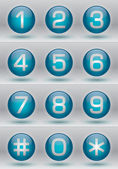 Glossy numbers vector set turquoise