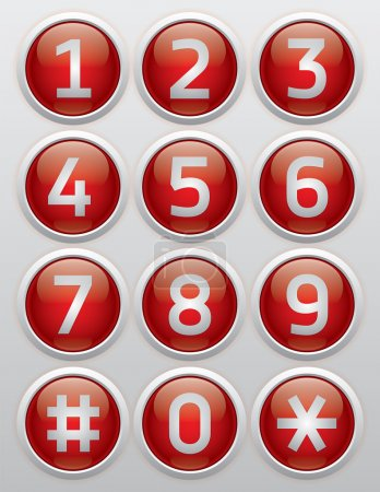 Red glossy buttons with numbers