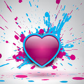 Love bomb color explosion vector bang bright spray pink and blue paint