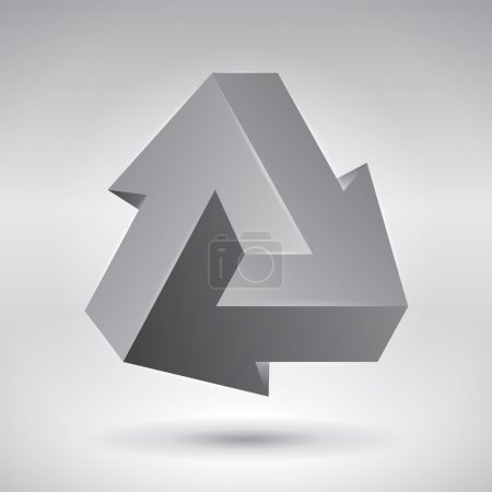 Impossible figure, 3 arrows, impossible arrows. Abstract vector objects