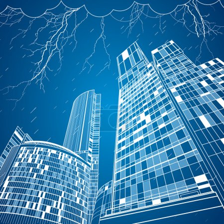 Neon city, vector lines town. Night city. Infarstructute. Storm and rain