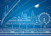 """Постер, картина, фотообои """"Векторные линии города, вектор путепровод мост и транспорт, Энергетика города, инфраструктура Векторный дизайн"""""""