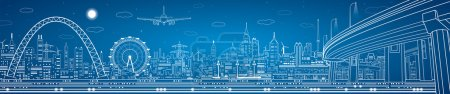 Illustration for Vector industrial panorama, vector lines technology landscape, night city - Royalty Free Image