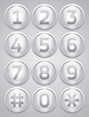 White reflection glossy buttons with numbers vector buttons set