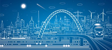 Illustration for Vector lines train on the bridge, train on the background of the light city and plane fly, vector infrastructure panorama - Royalty Free Image