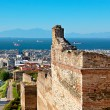 The high ramparts run down the hill from the Ano Poli to the Lower Town of Thessaloniki, Greece.
