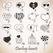 Set of stylized hand drawn hearts