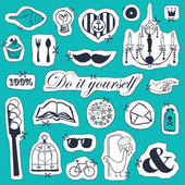 Vector set of hand drawn objects in vintage style