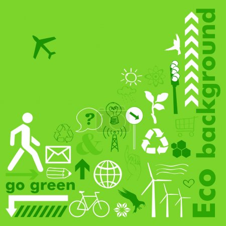 Illustration for Green eco background with icons - Royalty Free Image