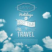 Sunny day background with clouds Tourist poster Vector image