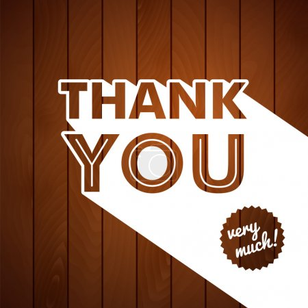 Illustration for Thank you card with typography on a wooden background. Vector image. - Royalty Free Image
