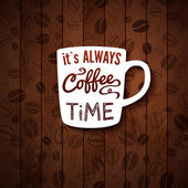 It is always coffee time Poster with coffee cups on a wooden background
