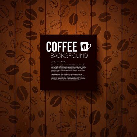 Illustration pour Note en papier sombre avec place pour votre texte. Fond en bois brûlé avec des grains de café. Image vectorielle . - image libre de droit