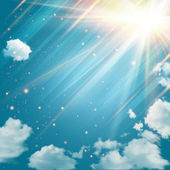 Magic sky with shining stars and rays of light Blue sky with clouds background Vector illustration