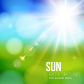 Bright shining sun with lens flare Soft background with bokeh effect Vector illustration